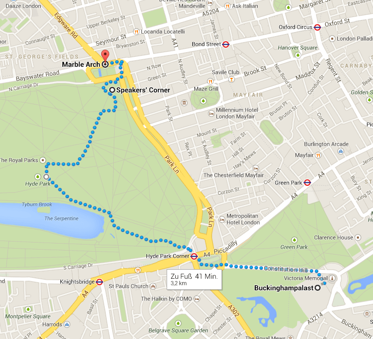Buckingham Palace -> Marble Arch