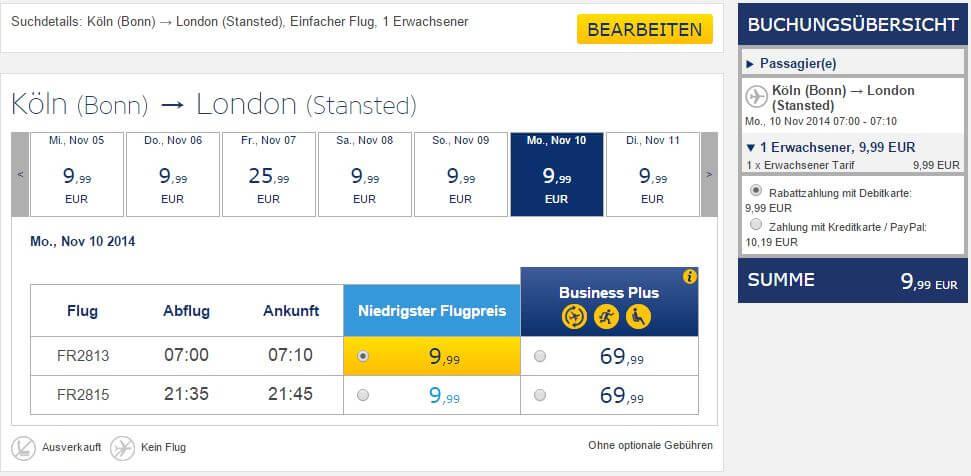 Angebot Ryanair