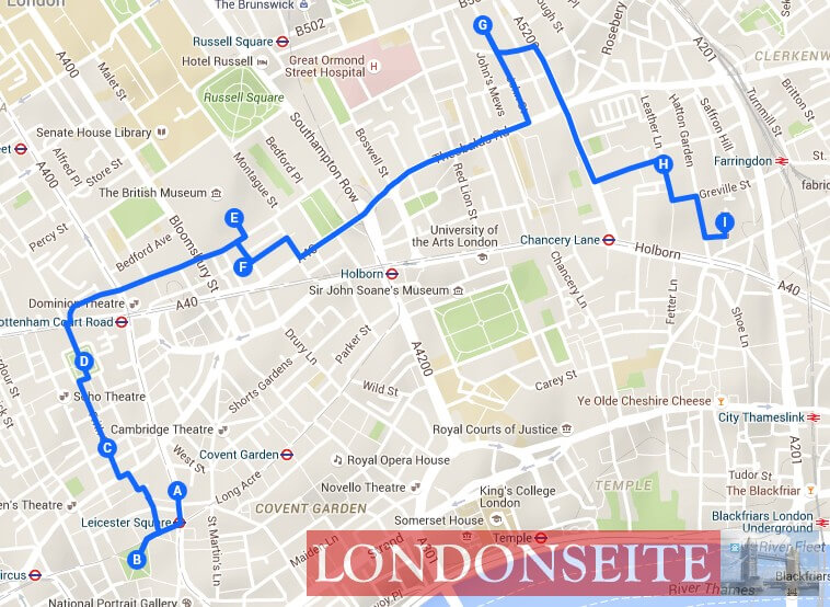 Spaziergang Soho Bloomsbury