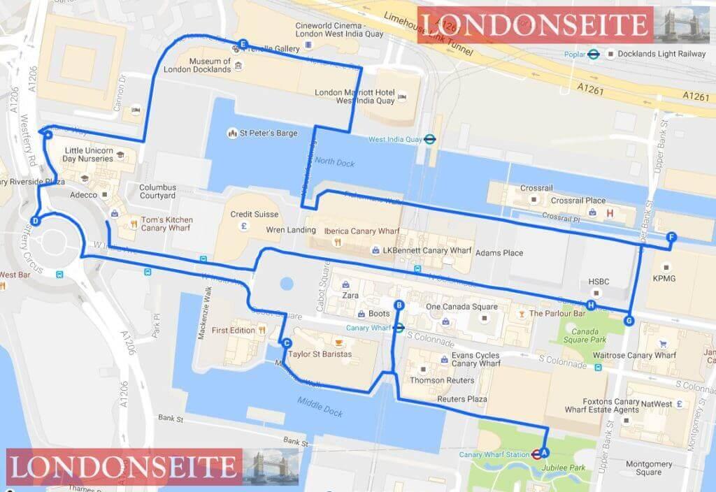Spaziergang durch Canary Wharf Karte