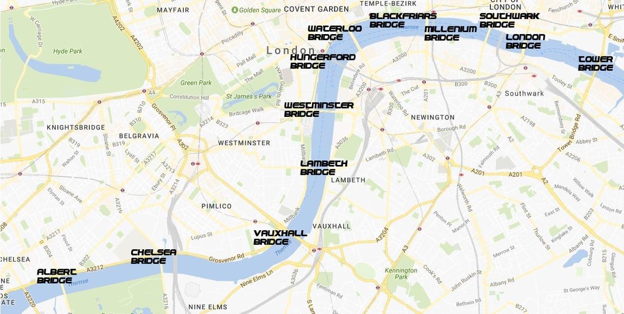 Karte London Stadtteile.Londoner Brucken Themse Querungen Londonseite London Blog